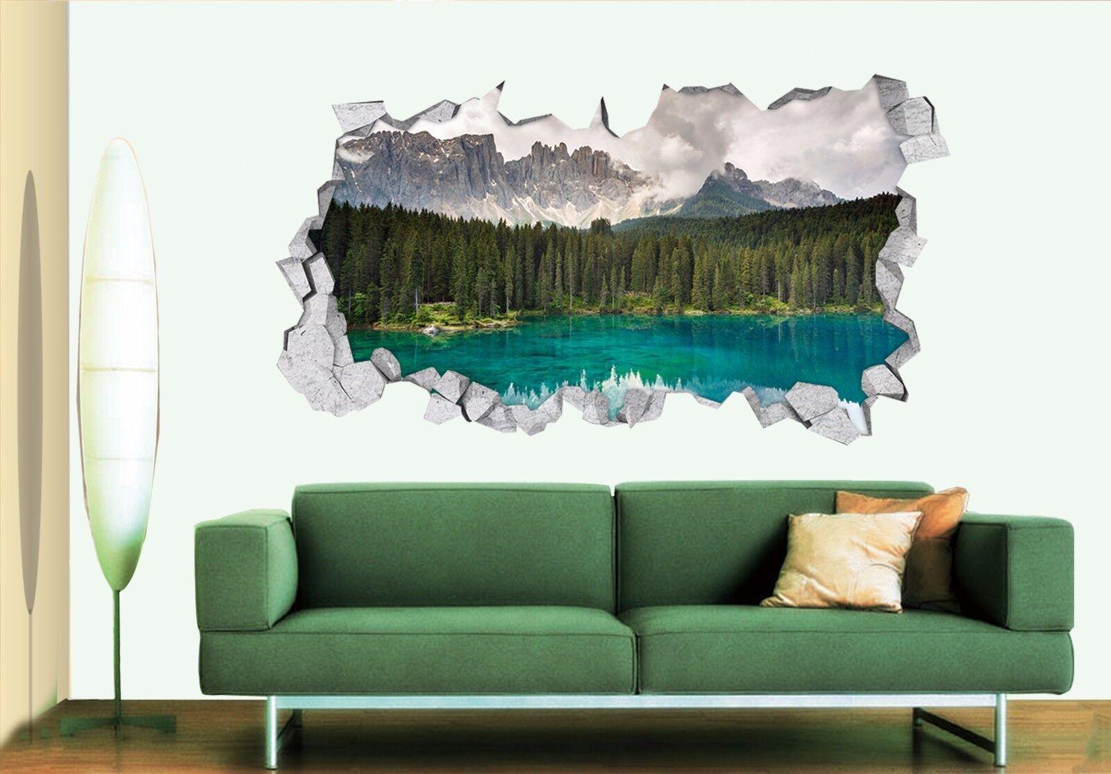 3D Foresta Lago 301 Parete Murales Adesivi Decal Sfondamento AJ WALLPAPER IT
