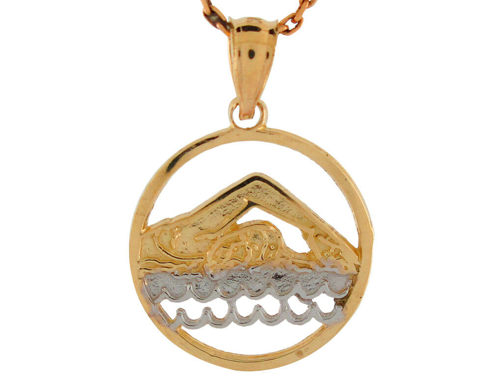 10k or 14k Two-Tone gold Swimmer Aquatic Crawl Stroke Pendant with Round Frame