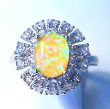 "GORGEOUS CITRUS  FIRE OPAL/WHITE TOPAZ   RING UK Size ""S"" US 10"