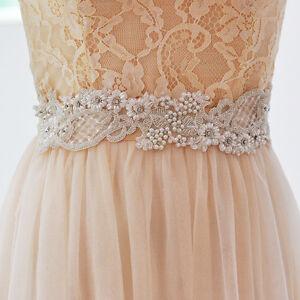 Vintage pearl crystal beads flower wedding dress belt for Vintage wedding dress belts