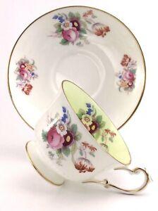 Vintage-Foley-1850-Bone-China-Tea-Cup-Saucer-Porcelain-Floral-Set-England-J634