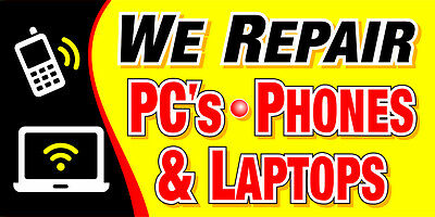 We BUY/SELL/REPAIR PC's Laptops Cell Phone Banner Sign computer neon alt 4s 5