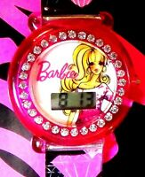 Pink Barbie Sketch Art Watch Rhine Stones/diamond Pictures On Black Wristband
