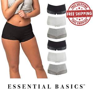 Women-Lace-BoyShorts-Panties-Underwear-Comfortable-Fit-S-M-L-XL-Lot-of-3-10