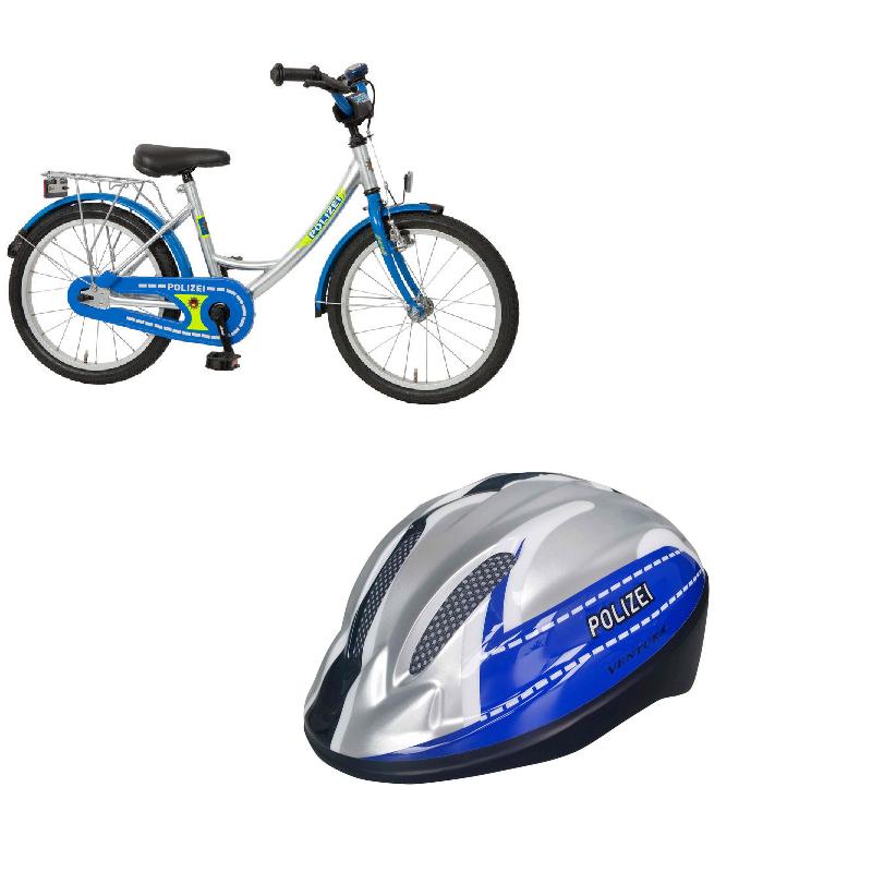 Bachtenkirch Kinderfahrrad 18 Zoll Polizei mit LED Helm im Set  434-PZ-40 Bundle