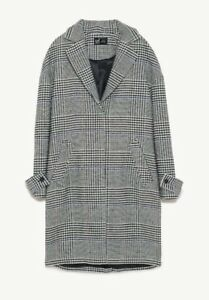 Coat Wool Zara 12 Bnwt Size Oversized Uk Blend Cheked Masculin M qrB6WnpFq