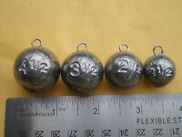 12 Pcs. Cannon Ball Sinker 1-1/2, 2-1/2, 3-1/2, 4-1/2, Oz. 3 Ea. W/s.s. Wire Eye