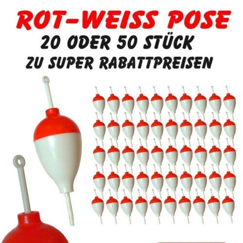 Feststellpose Forellenpose 4g 20 oder 50 Stück günstigen Set Rot-Weiss Pose