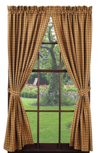 Olivia/'s Heartland country primitive Cambridge Mustard Panel curtains 72x63