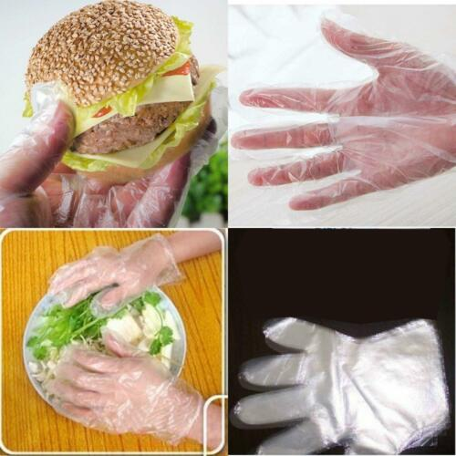 100Pcs Disposable Gloves Garden Home Restaurant  Plastic Sanitary Clear D