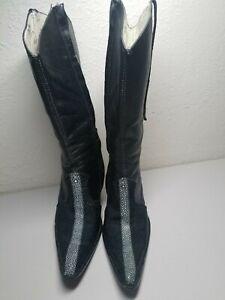 996460c2f3eb4 Details about Los Altos Stingray Black Leather Boots Womens size 7 M