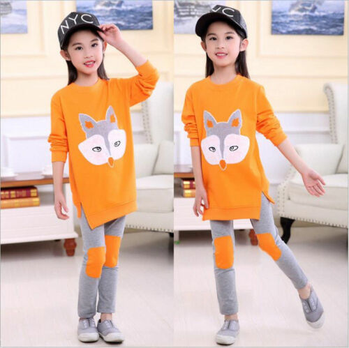 2pcs Toddler Baby Girls Cartoon Fashion Suit Long Sleeve Fox Tops+Pants Clothes