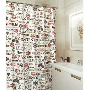Image Is Loading Shower Curtain W 12 FREE ROLLER HOOKS Christmas