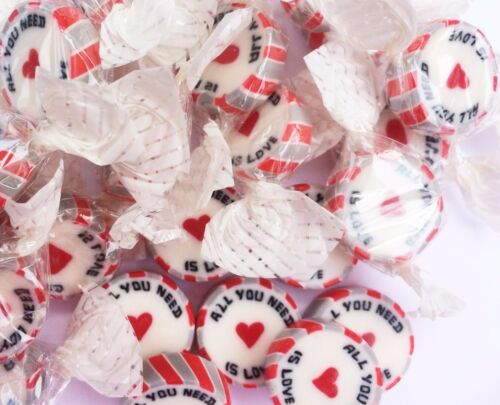 Red Silver ALL YOU NEED IS LOVE Wedding Favour Rock Forest Fruits Flavour