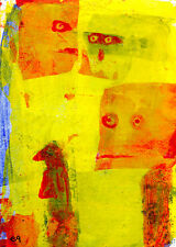 trust me e9Art ACEO Outsider Art Brut Abstract Figurative Painting Self-Taught