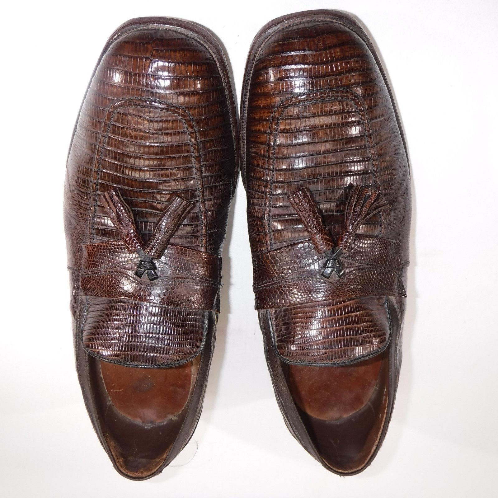 Allen Edmonds Uomo marrone Clayton Loafers Exotic Lizard Tassel Scarpe Sz 10 1/2 D