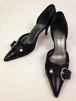 Coach High Heels Womens 7.5 B Alecksa Pumps Shoes Black Silve Buckles Pointy Toe