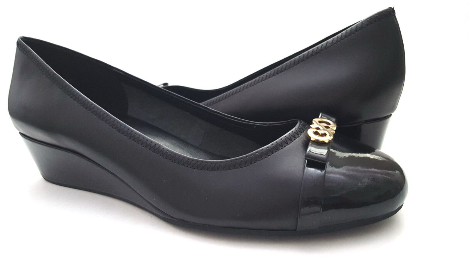 Brand New Cole Haan women's Elsie logo Wedge Black Leather shoes