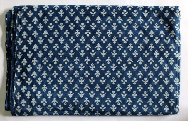 Jaipuri print Blue Indigo Fabric Hand made 100% Cotton material Dabu