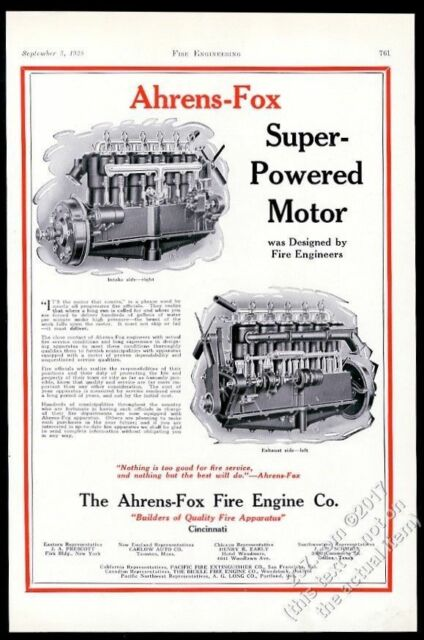 1928 Ahrens Fox fire truck engine diagram vintage trade print ad