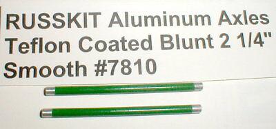 """2 3//4/"""" Russkit Green Teflon Axles Hi-Perf Aluminum 1//8/"""" Blunt Original NOS 2"""