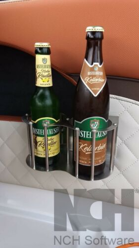 Getränkehalter für 2 Getränke aus Edelstahl inkl Befestigung zum klemmen
