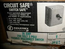 Industrex Jf21 Heavy Duty Disconnect Circuit Safe Switch Fusible 30amp 3 Pole