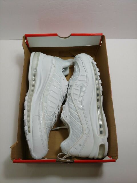 f51c658c9e1 Nike Air Max 98 Triple White White Pure Platinum-Black Mens SZ 12.5 640744-