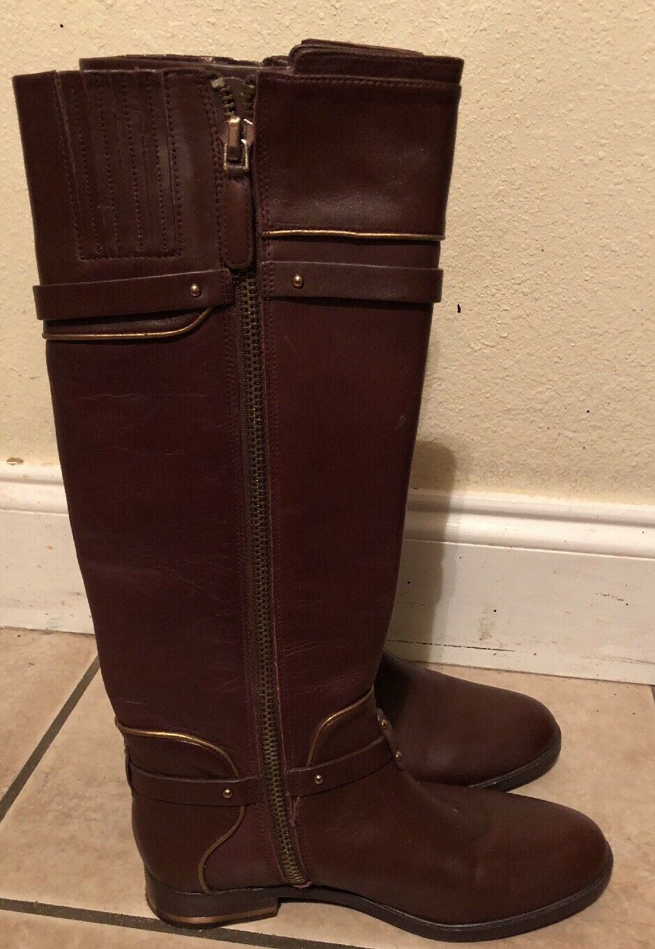 BCBGMaxazria Franz Leather Riding Boots Brown Size 6.5 MSRP 395 new