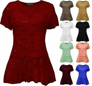 89f48f5aa9eeec Image is loading Womens-Plus-Size-Sequin-Lace-Frill-Peplum-Top-