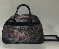 Kathy Van Zeeland Indigo Paisley Wheeled Duffle Luggage City Bag $120
