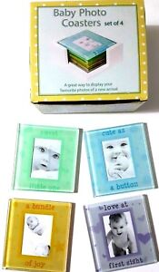 Set-4-Multicoloured-Glass-Picture-Frame-Baby-Photo-Coasters-Drinks-Holder-Set