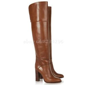 Braun-Overkneestiefel-Damenschuhe-Hoch-Blockabsatz-Europa-Boots-Stiefel-Leder