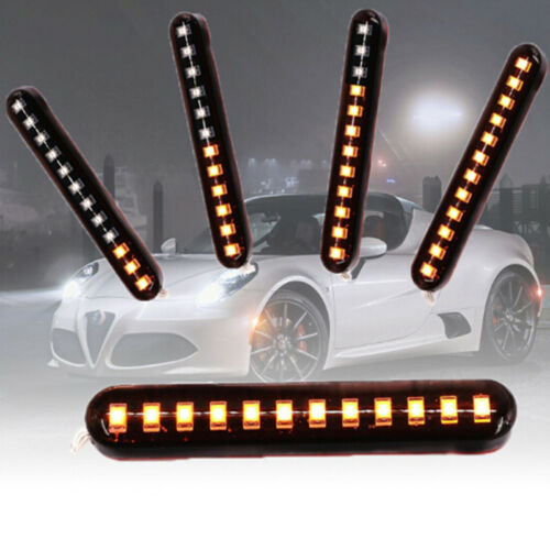 Switchback Car DRL 12 LED Light Strip Tube Sequential Turn Signal Lights Cool MA
