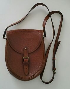 cff2678bf0 Details about Vintage Real MULBERRY Brown Scotchgrain Leather Crossbody  Messenger Saddle Bag.