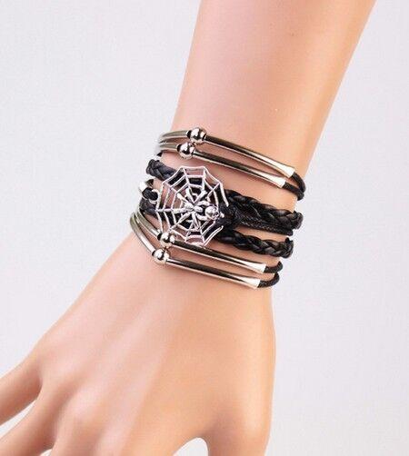 NEW Infinity Black Spider Friendship Antique Silver Leather Charm Bracelet