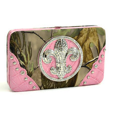 New Realtree Women Leather Wallet Purse Card Bag Checkbook Camouflage Rhinestone