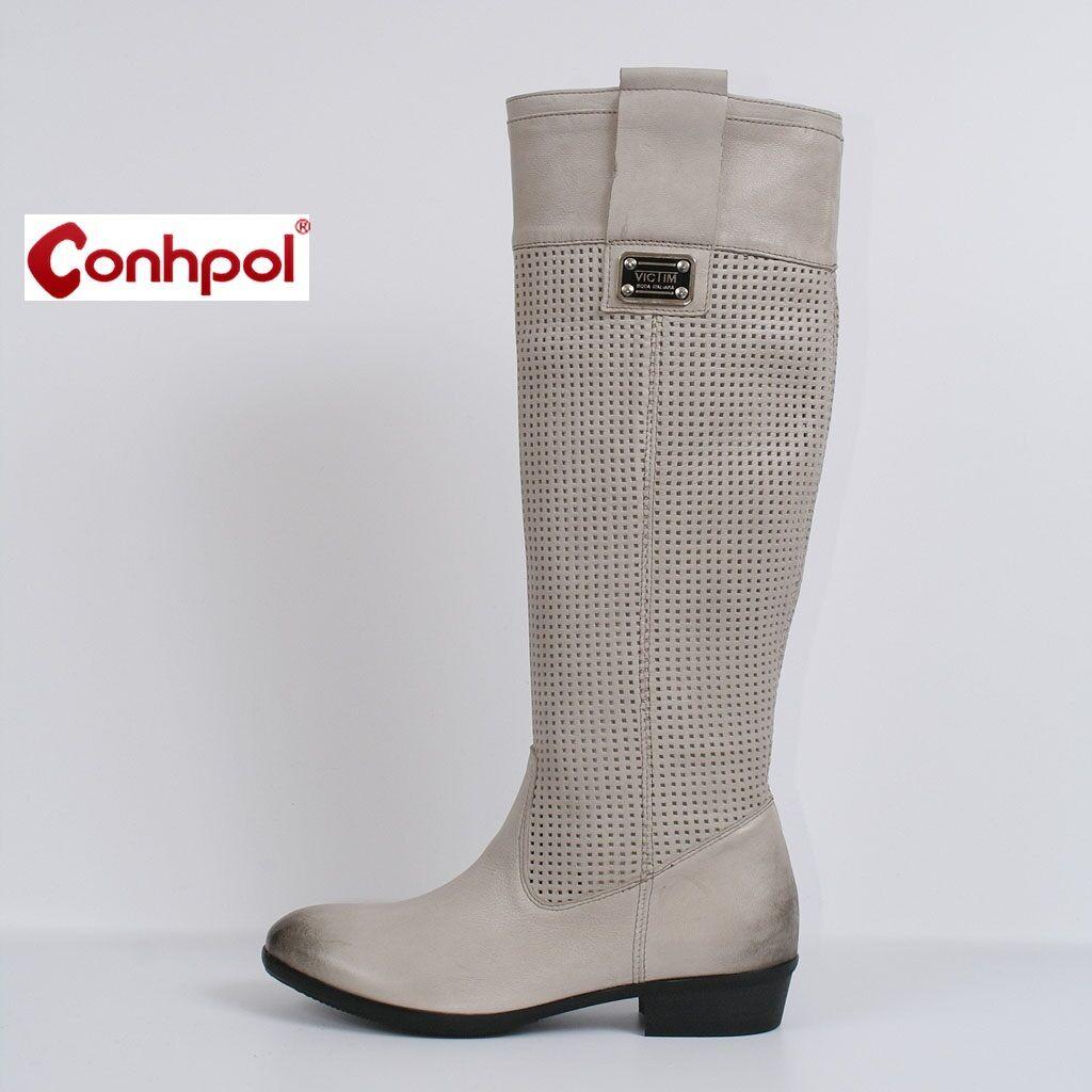 Grandes zapatos con descuento Damen Stiefel Stiefeletten Sommer Grau Leder Neu 37 Schuhe