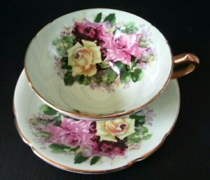 Vintage Green Stanley Tea Cup & Saucer w Pink & Yellow Cabbage Roses Gold Trim