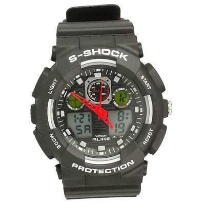 New Men's Millitary Waterproof Sport Alarm Digital Quartz LED Wrist Watch Gray