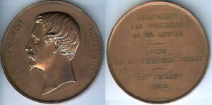 Medaille-de-table-NAPOLEON-III-25-juillet-1852-achevement-Louvre-cuivre-main