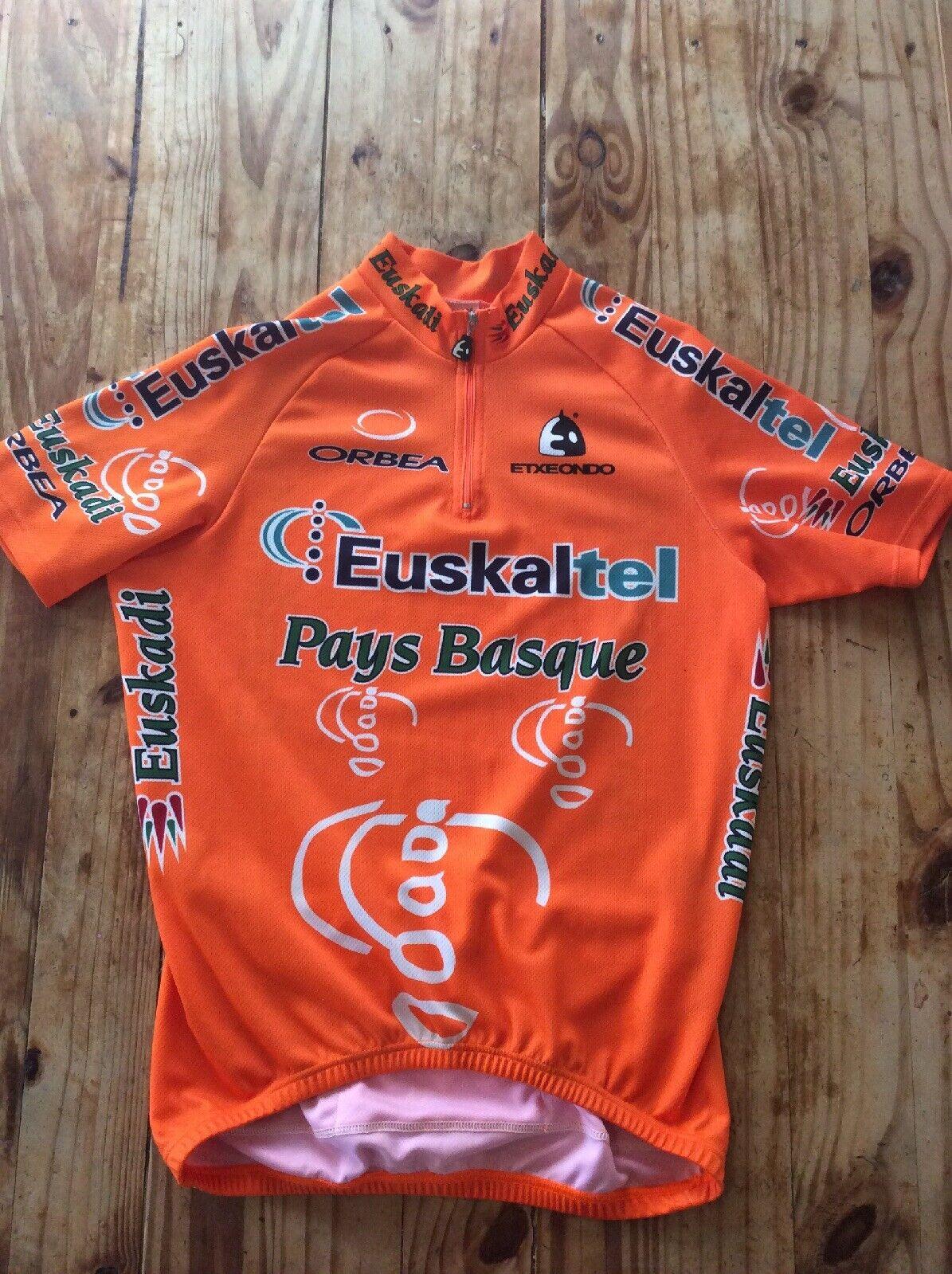 ETXEONDO Euskaltel Euskadi spanish Cycling Jersey Lg 1 4 Zip orange Short Sleeve