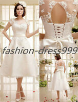 Stock White/Ivory Lace Tea Length Sweetheart Wedding dress Size 6-8-10-12-14-16