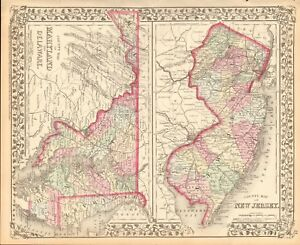 1874 ANTIQUE MAP - USA - MARYLAND, DELAWARE, NEW JERSEY IN COUNTIES ...