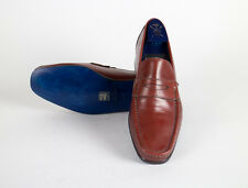New SUTOR MANTELLASSI Red Leather Penny Loafers Shoes Size 12 US/45 EU $750