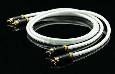 Sliver Plated 6N OFC Hi Fi 99.99997/% High End MPS M-4 2RCA to 2RCA Audio Cable