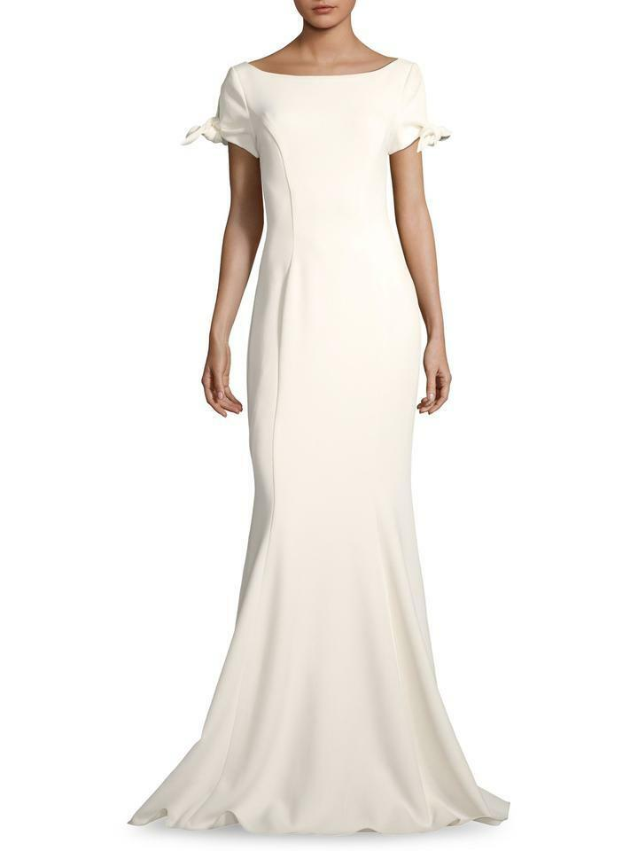 NWT  690 BADGLEY MISCHKA Badgley Mischka White Ribbon Ribbon Ribbon Sleeve Evening Dress 0 e7a236