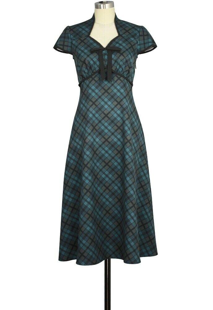 CSTD 82664 Damen Kleid Rockabilly 50er 60er Vintage Retro Grün kariert 36-58