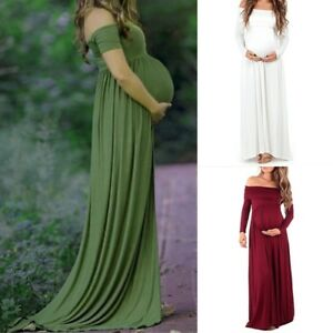 e4a1d3abe1d Image is loading Pregnant-Long-Sleeve-Off-Shoulder-Evening-Dress-Maternity-