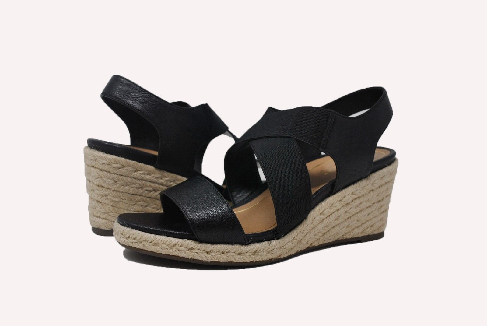 6accd3dfffc8 Vionic Ainsleigh Leather Espadrille Wedge Sandals Women s Size 8 Black  Damaged for sale online